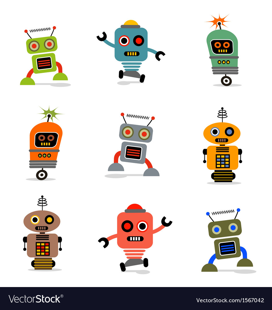 Cute robots set 1 vector | Price: 1 Credit (USD $1)