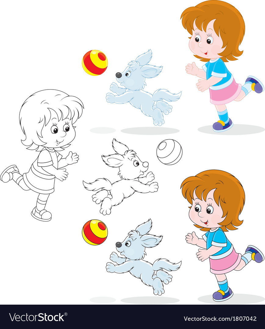 Girl and pup vector | Price: 1 Credit (USD $1)