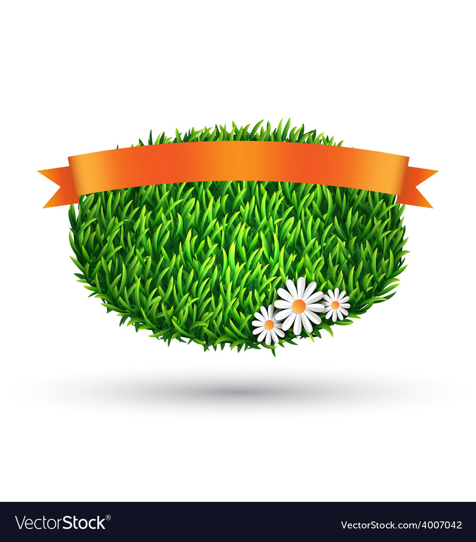 Green grass oval with chamomiles and flag isolated vector | Price: 1 Credit (USD $1)