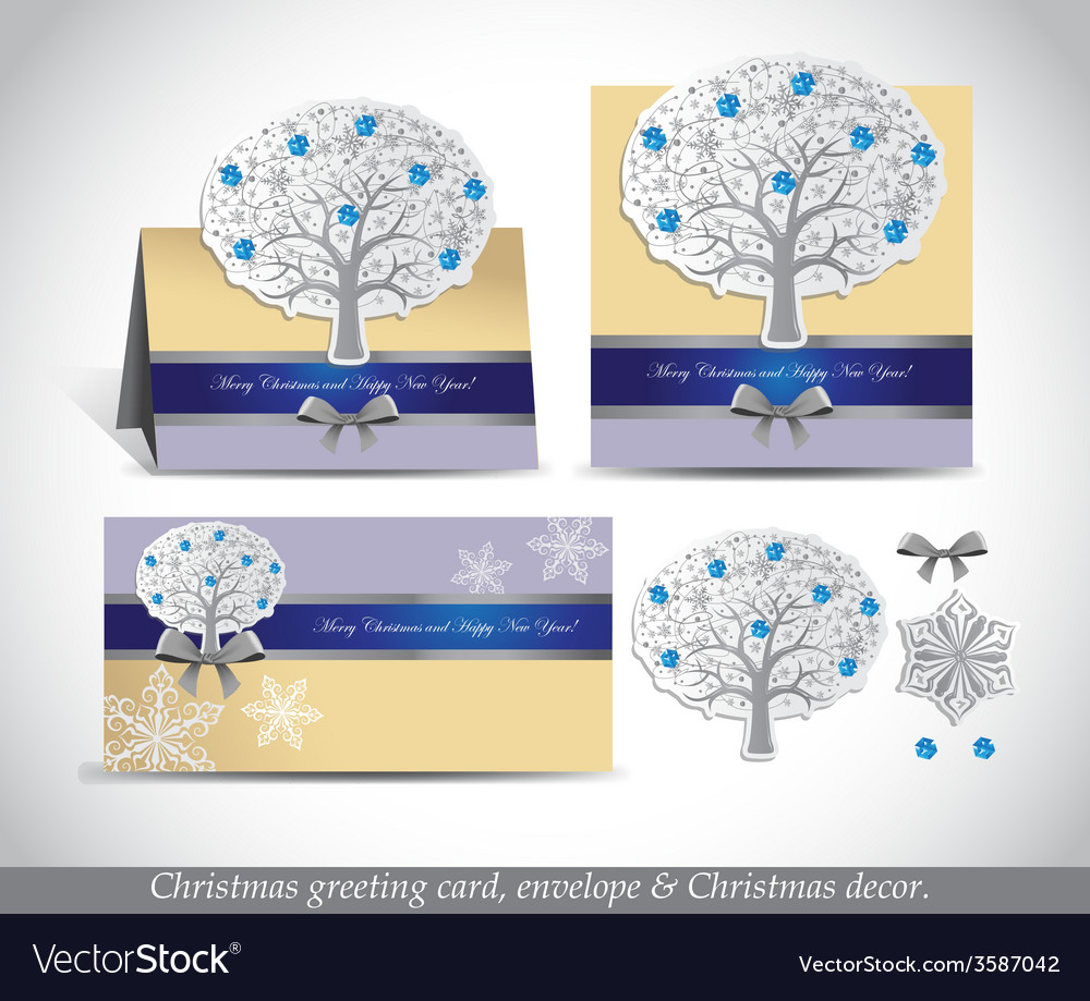 Greeting cards with silver ornate winter tree vector | Price: 1 Credit (USD $1)