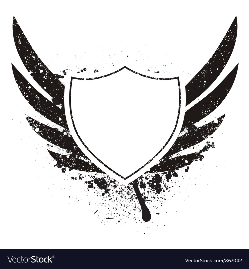 Grunge retro emblem with shield vector | Price: 1 Credit (USD $1)