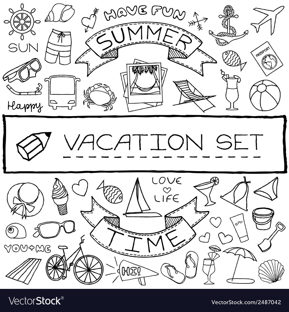 Hand drawn vacation icons set vector | Price: 1 Credit (USD $1)