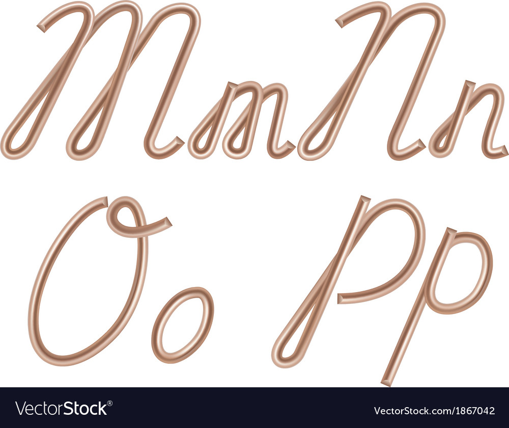 M n o p letters made of metal copper wire vector | Price: 1 Credit (USD $1)