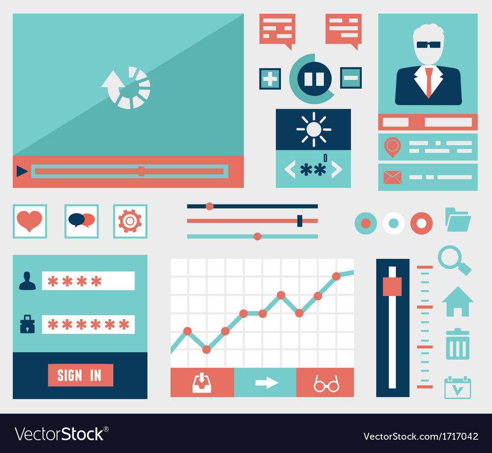 Modern flat symbols and elements of user interface vector   Price: 1 Credit (USD $1)