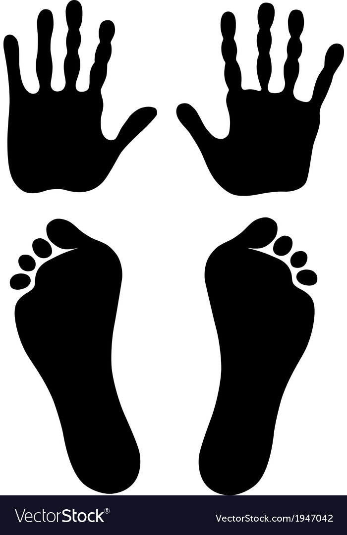 Old man hand foot prints silhouettes vector | Price: 1 Credit (USD $1)