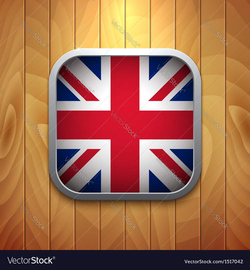 Rounded square united kingdom flag icon on wood vector | Price: 1 Credit (USD $1)