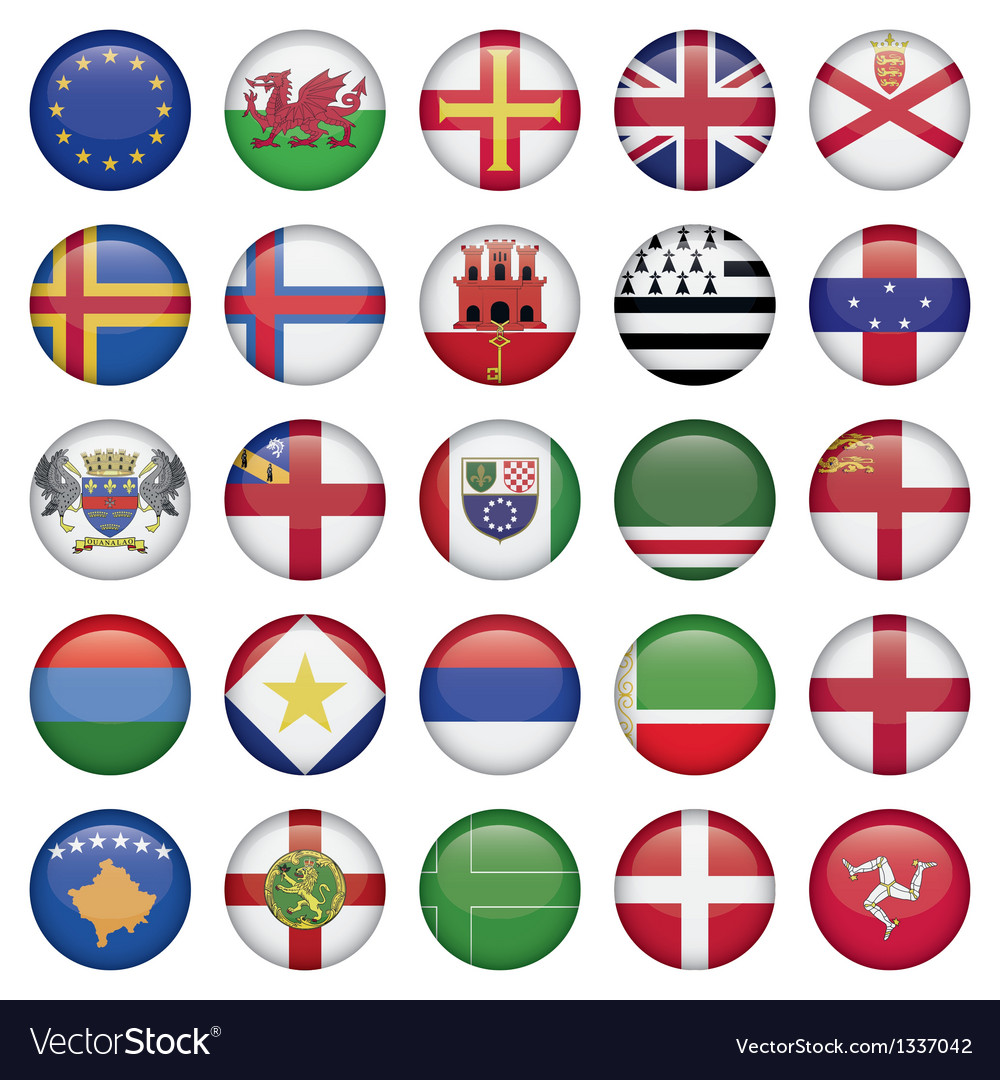 Set of european round flag icons vector | Price: 1 Credit (USD $1)