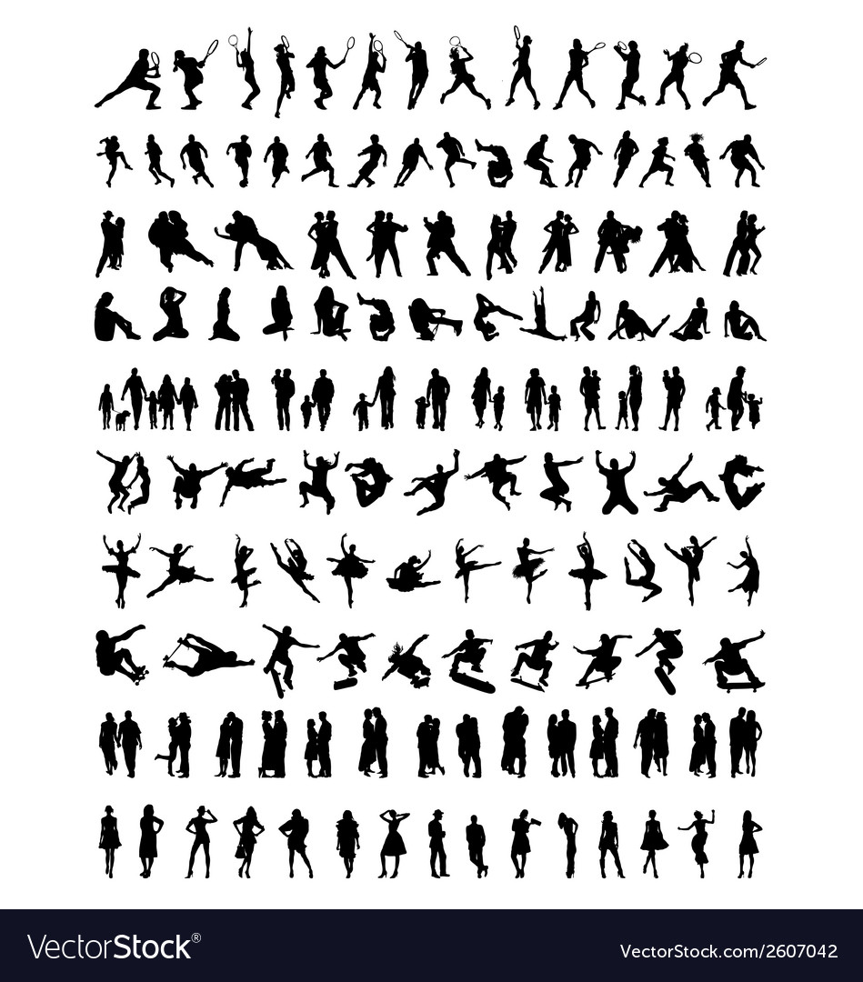 Silhouettes of people vector | Price: 1 Credit (USD $1)