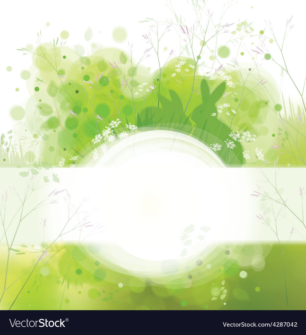 Spring frame rabbits card vector | Price: 3 Credit (USD $3)