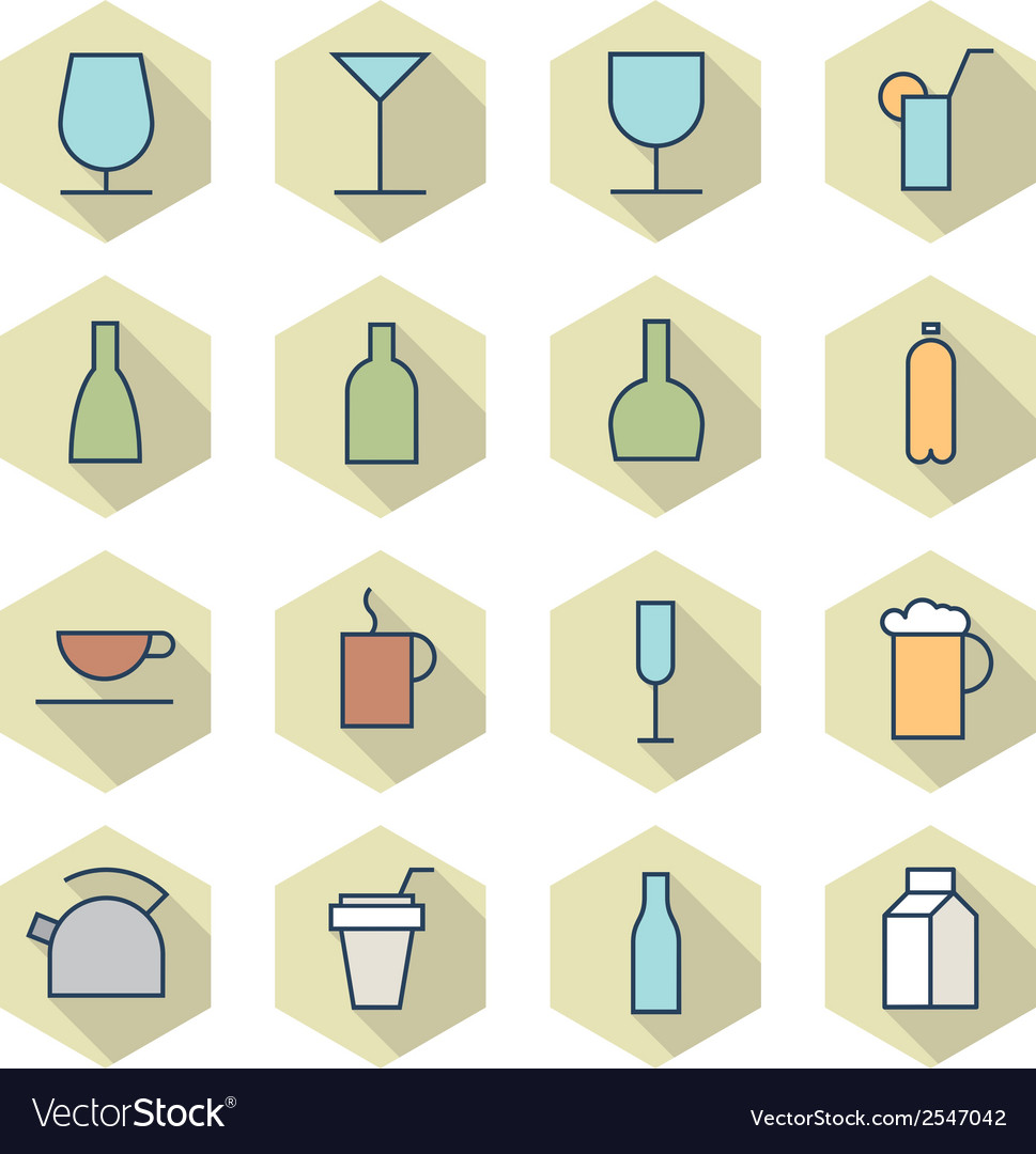 Thin line icons for drinks vector | Price: 1 Credit (USD $1)