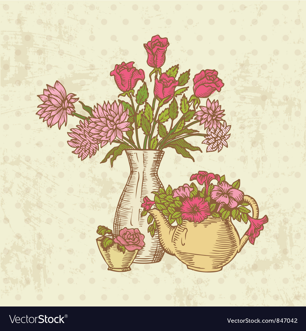 Vintage flower card vector | Price: 1 Credit (USD $1)