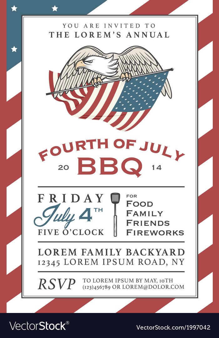 Vintage independence day barbecue invitation vector | Price: 1 Credit (USD $1)