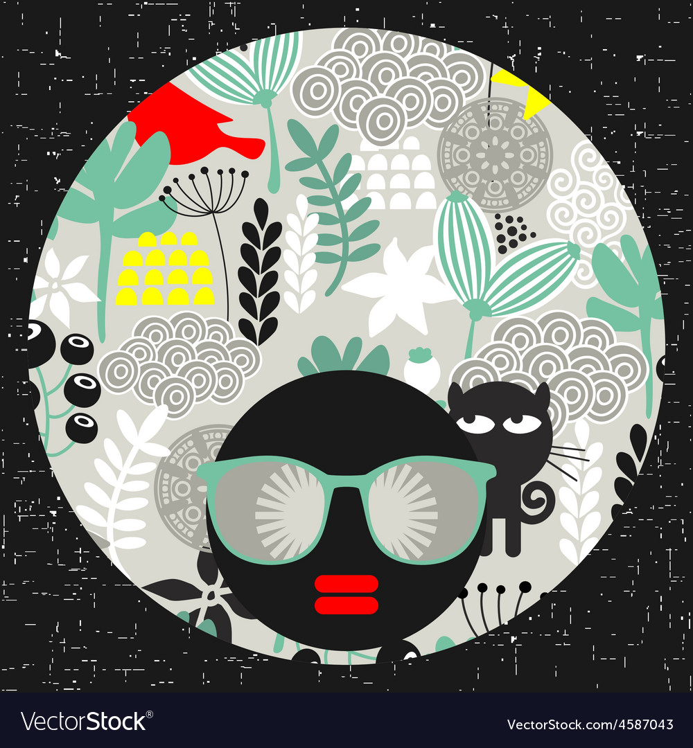 Black head woman in retro sunglasses vector | Price: 1 Credit (USD $1)
