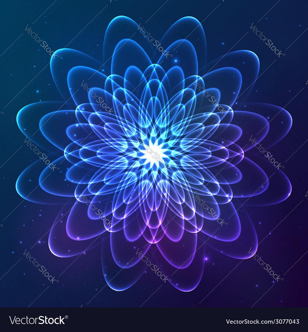 Blue shining cosmic flower vector | Price: 1 Credit (USD $1)