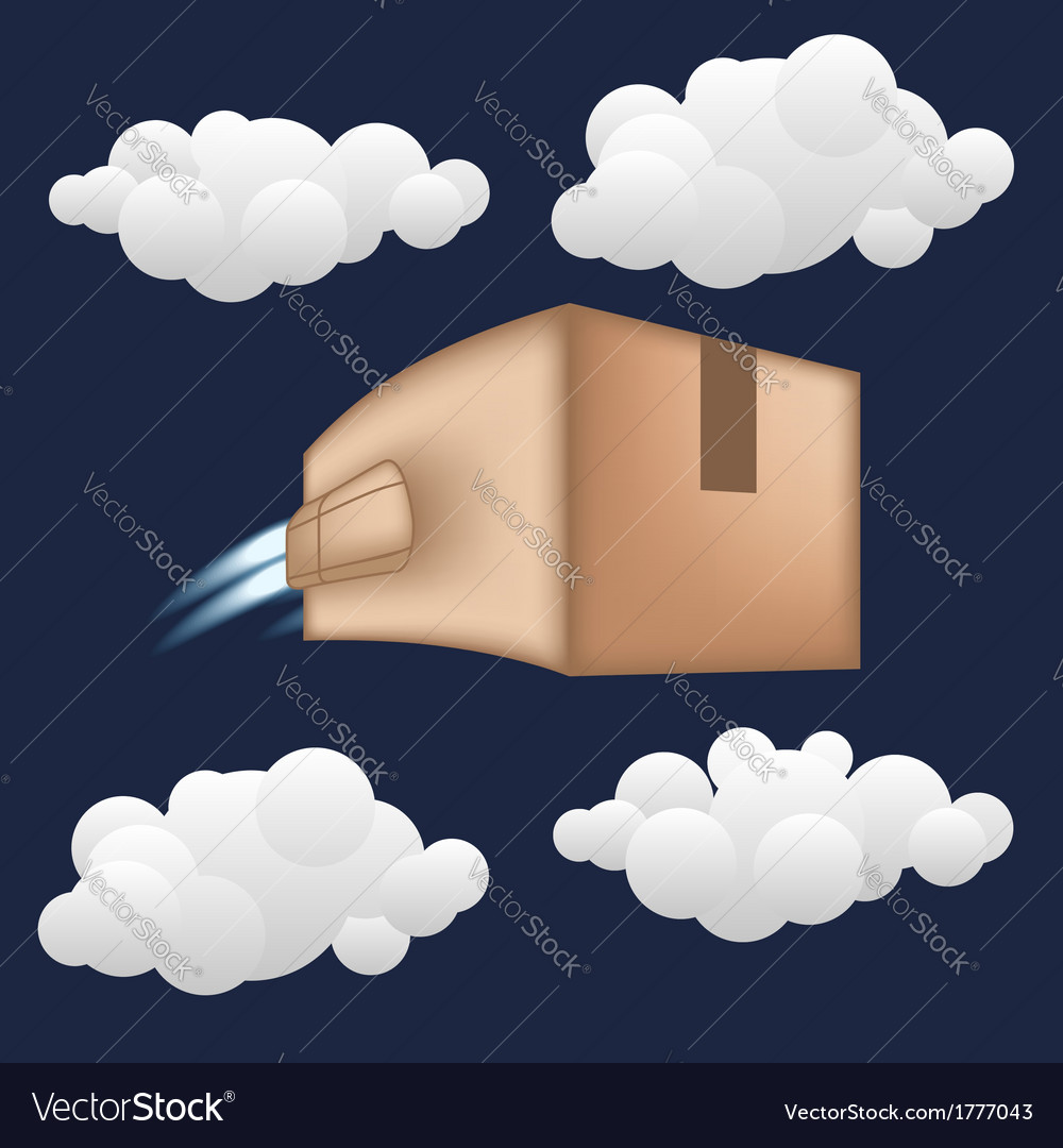 Fast package delivery concept box with jet engine vector | Price: 1 Credit (USD $1)