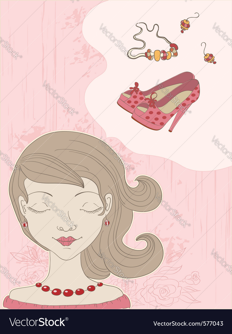 Hand drawn pink background with girl vector | Price: 1 Credit (USD $1)