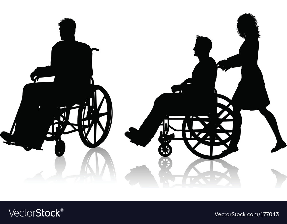 Man and woman with wheelchair vector | Price: 1 Credit (USD $1)