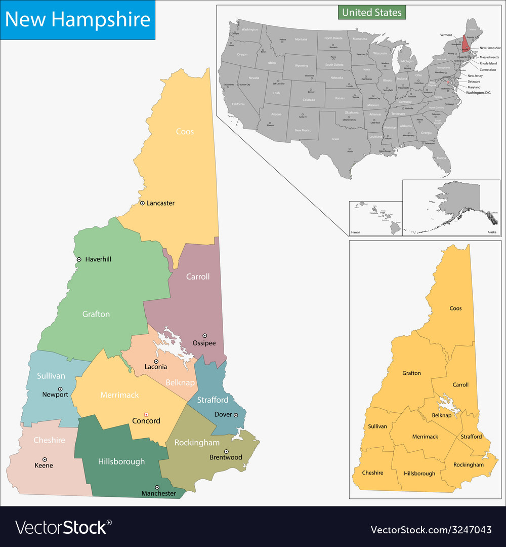 New hampshire map vector | Price: 1 Credit (USD $1)