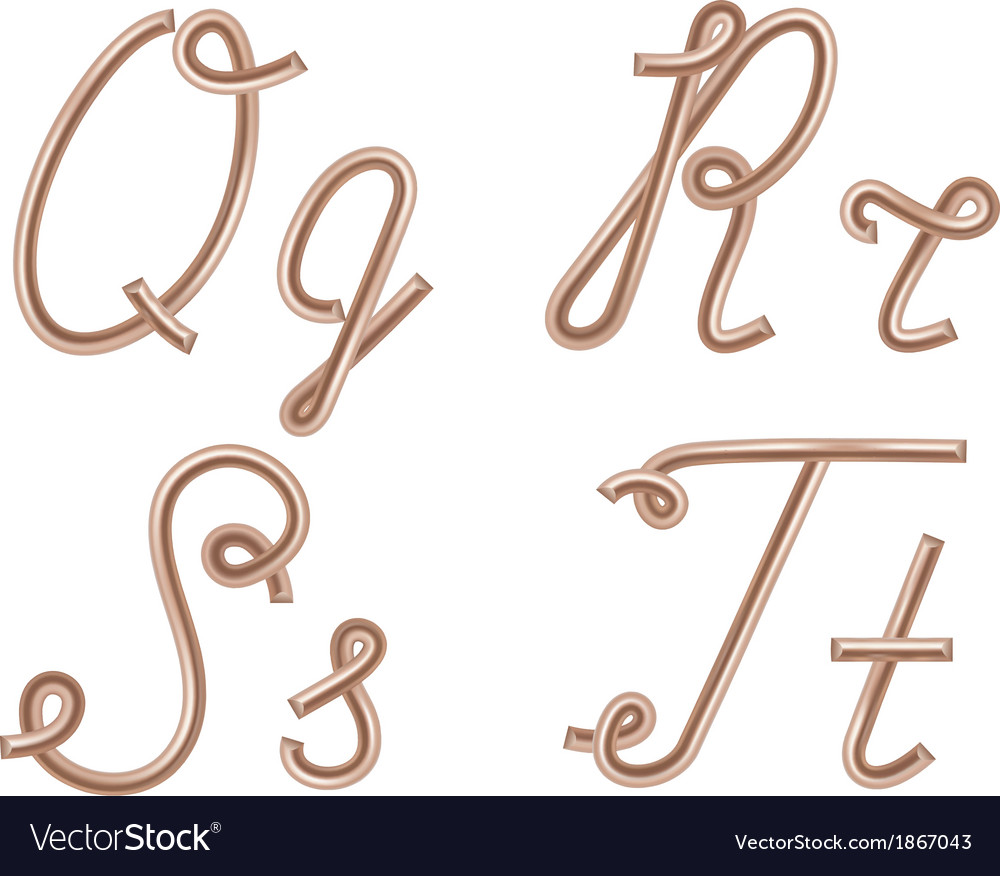 Q r s t letters made of metal copper wire vector | Price: 1 Credit (USD $1)