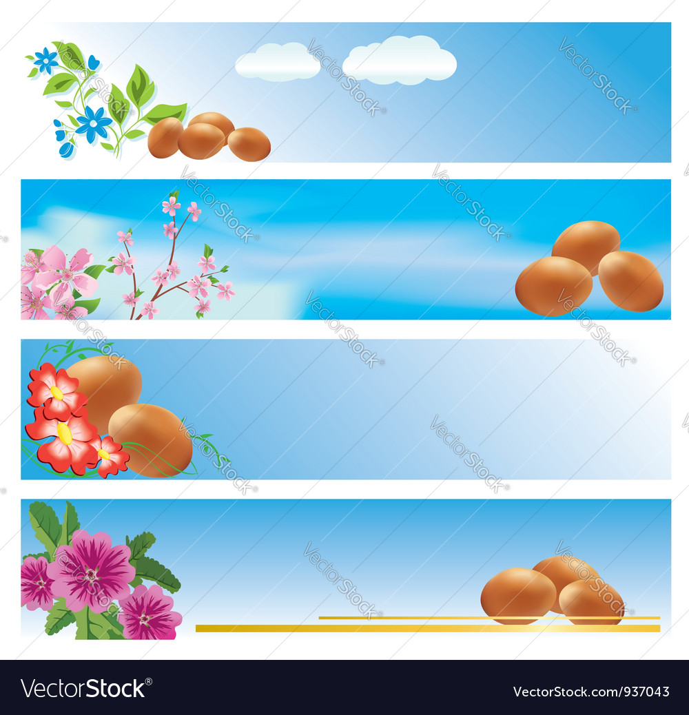 Set of blue banners with easter theme vector | Price: 1 Credit (USD $1)