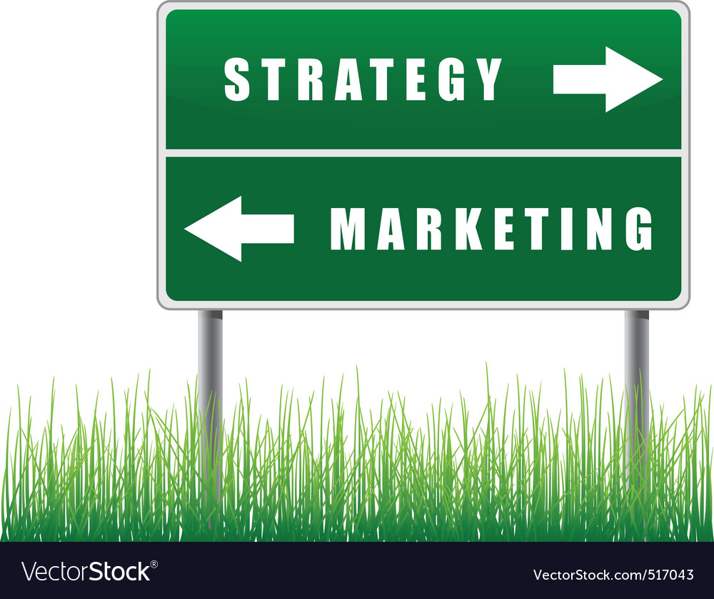 Signpost strategy marketing grass below vector | Price: 1 Credit (USD $1)