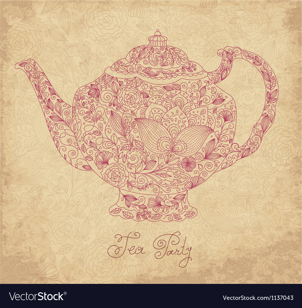 Teapot on sepia background vector | Price: 1 Credit (USD $1)