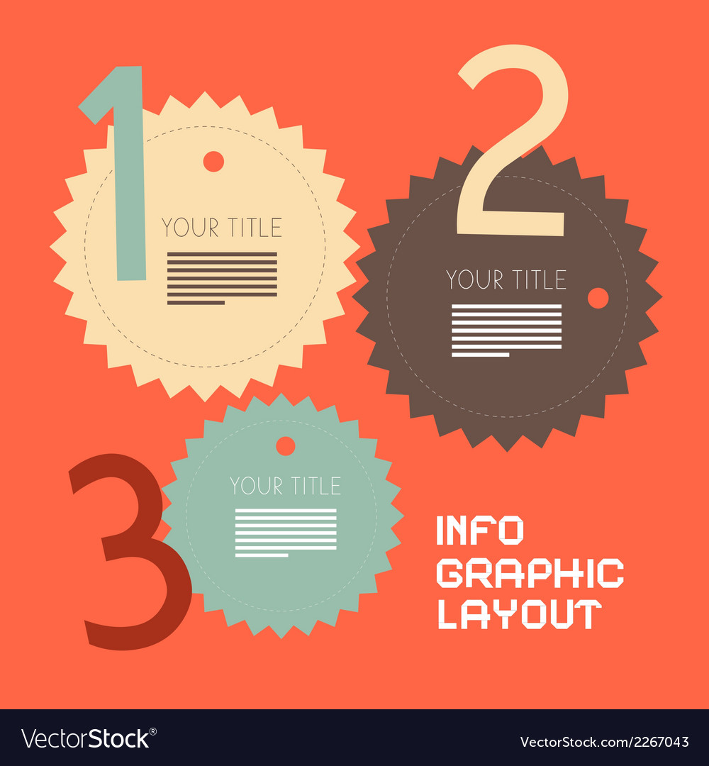 Three steps retro paper infographics flat design vector | Price: 1 Credit (USD $1)
