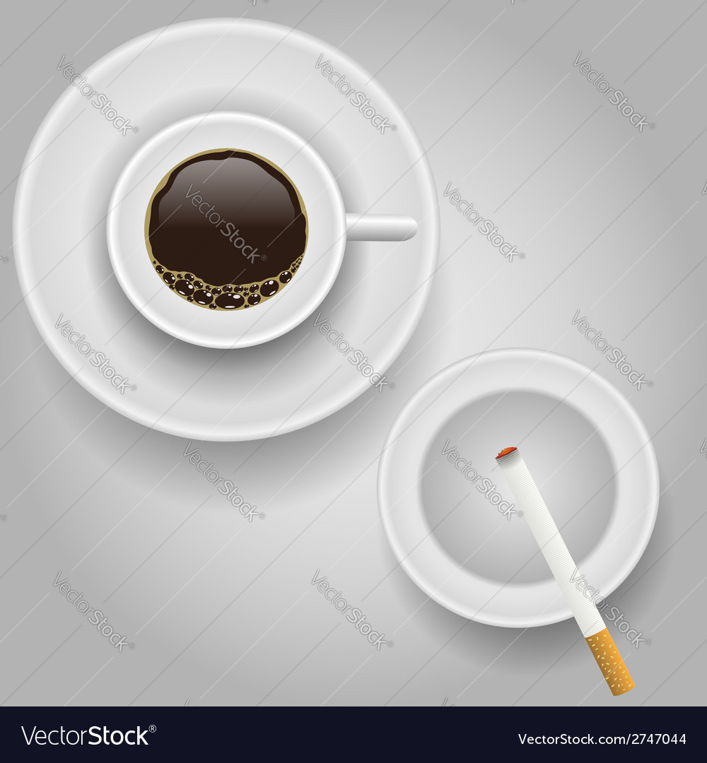 Cup of coffee and cigarette vector | Price: 1 Credit (USD $1)