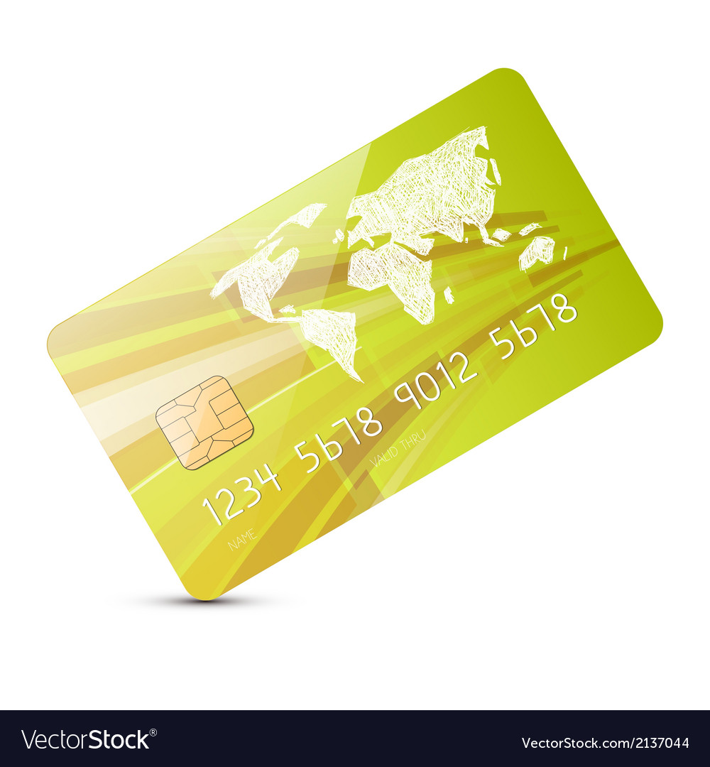 Green credit card isolated on white backgrou vector | Price: 1 Credit (USD $1)