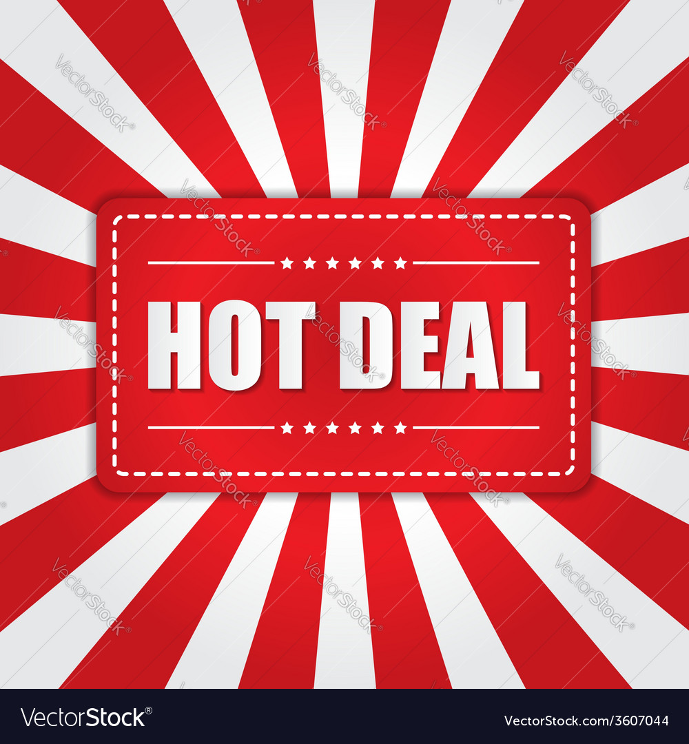 Hot deal banner with sunburst effect on white and vector | Price: 1 Credit (USD $1)