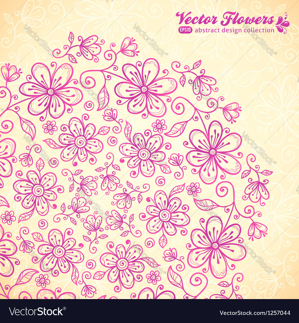 Pink doodle vintage flowers circle vector | Price: 1 Credit (USD $1)