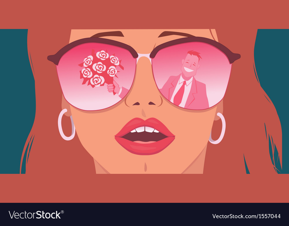 Rose-colored glasses vector | Price: 3 Credit (USD $3)