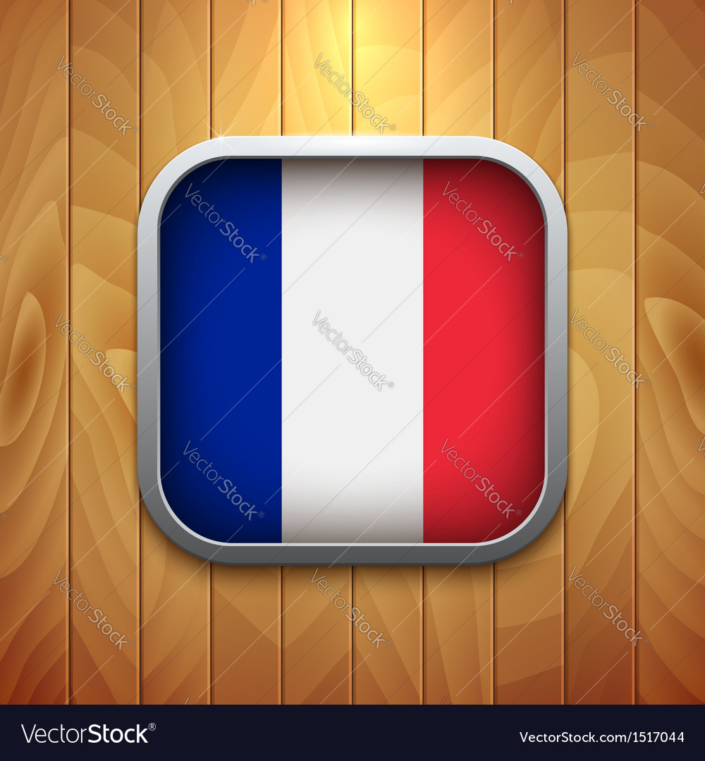 Rounded square france flag icon on wood texture vector | Price: 1 Credit (USD $1)