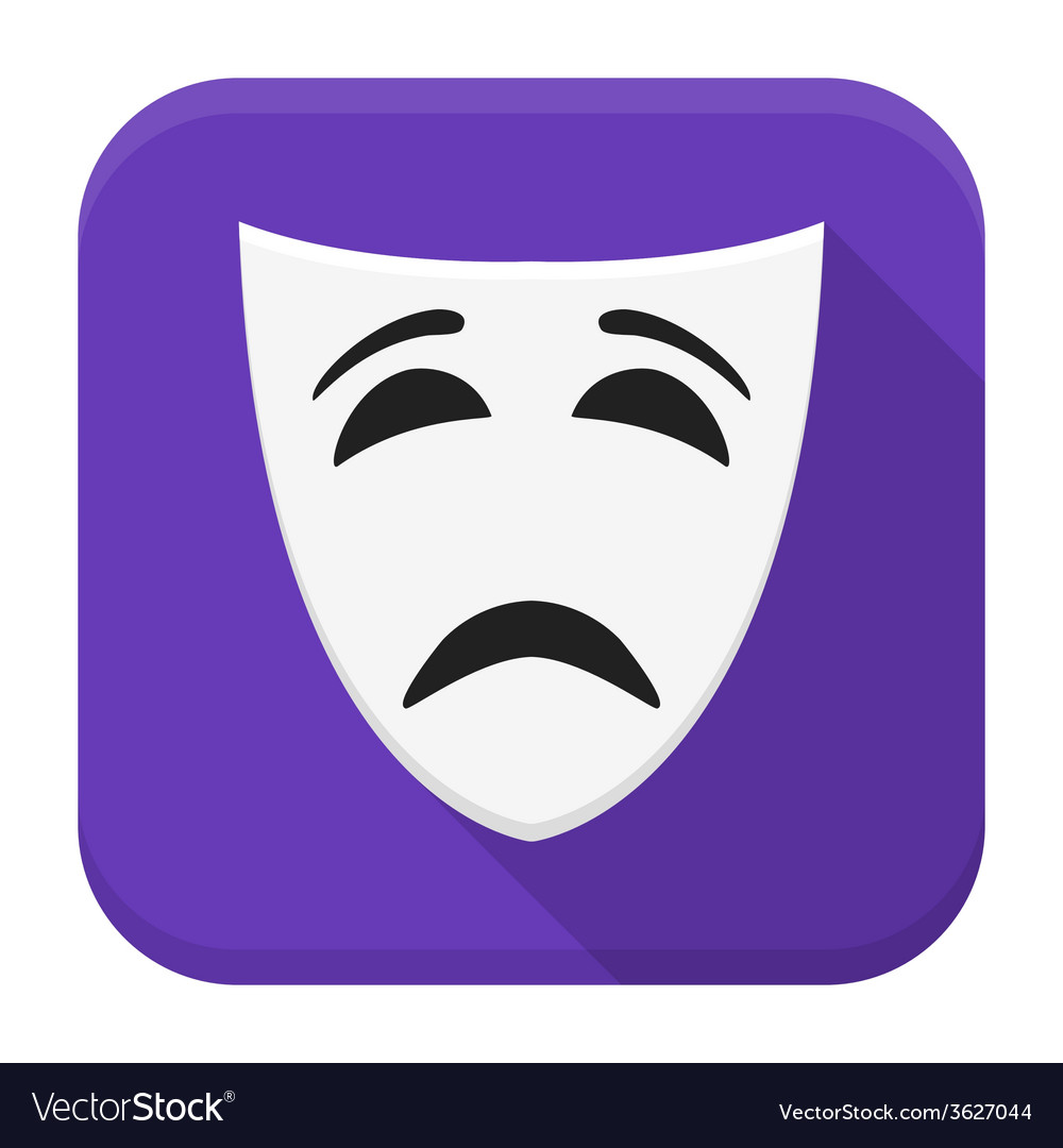Sad mask app icon with long shadow vector | Price: 1 Credit (USD $1)