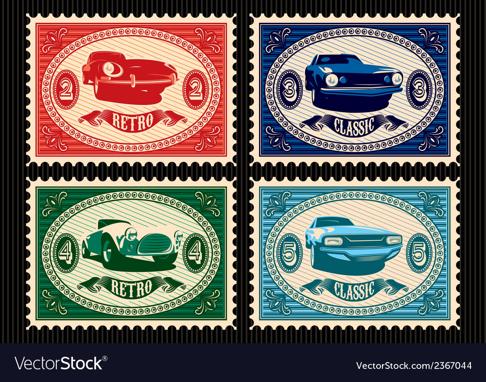 Set of postage stamps with cars vector | Price: 1 Credit (USD $1)