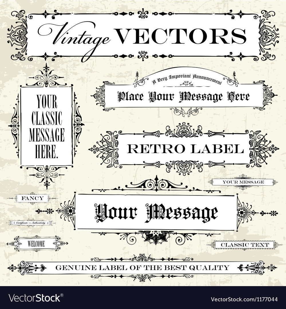 Set of vintage frames and backgrounds vector | Price: 1 Credit (USD $1)