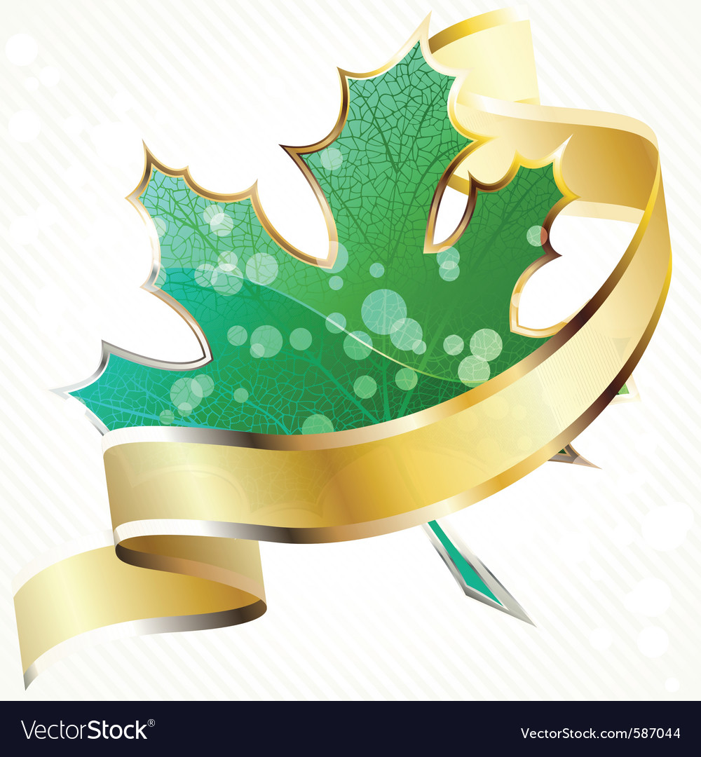 Shiny green leaf with gold banner vector | Price: 1 Credit (USD $1)