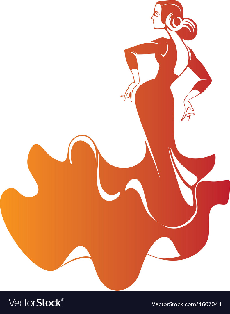 Silhouette flamenco dancer expressive pose vector | Price: 1 Credit (USD $1)