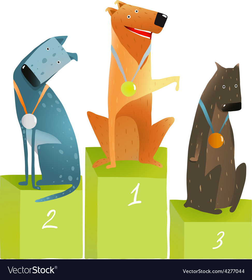 Three winners dogs sitting on podium with medals vector | Price: 1 Credit (USD $1)