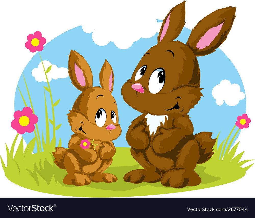 Two rabbits vector | Price: 1 Credit (USD $1)