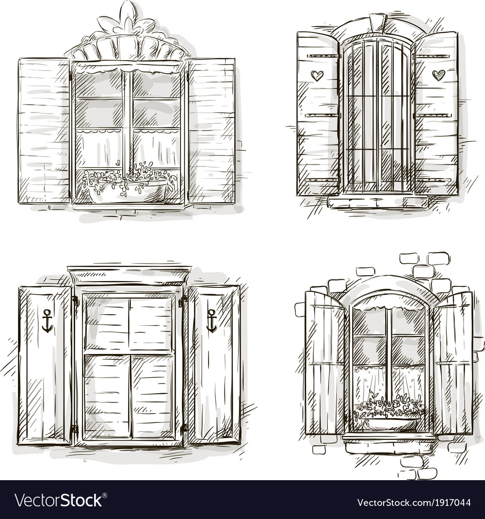 Vintage window hand drawn set of drawings vector | Price: 1 Credit (USD $1)
