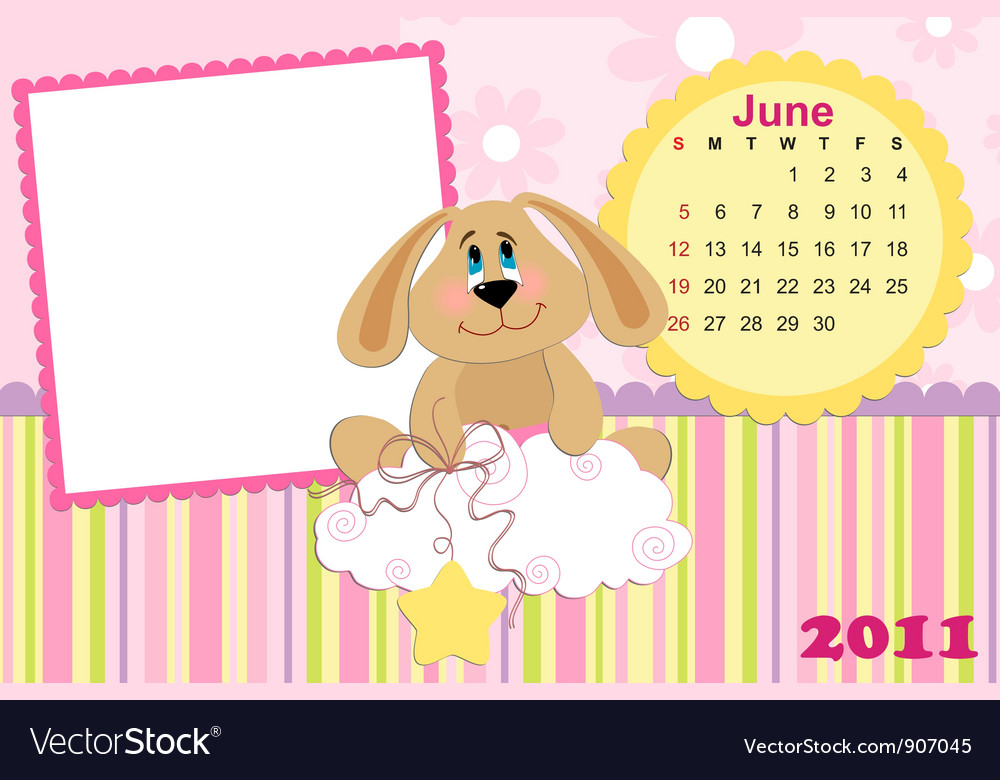 Babys monthly calendar for june 2011s vector | Price: 1 Credit (USD $1)
