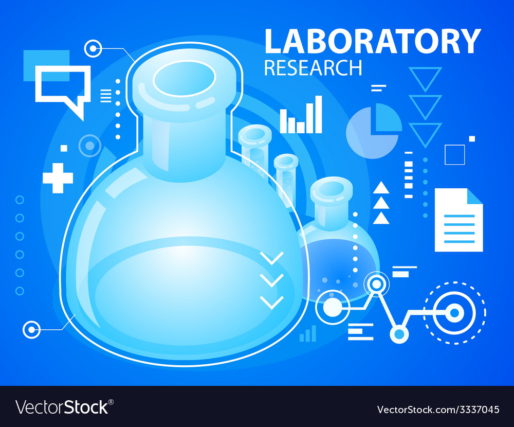 Bright laboratory research on blue backgroun vector | Price: 3 Credit (USD $3)