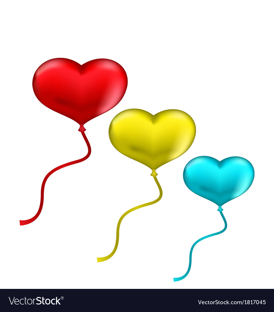 Colourful hearts balloons isolated on white vector | Price: 1 Credit (USD $1)