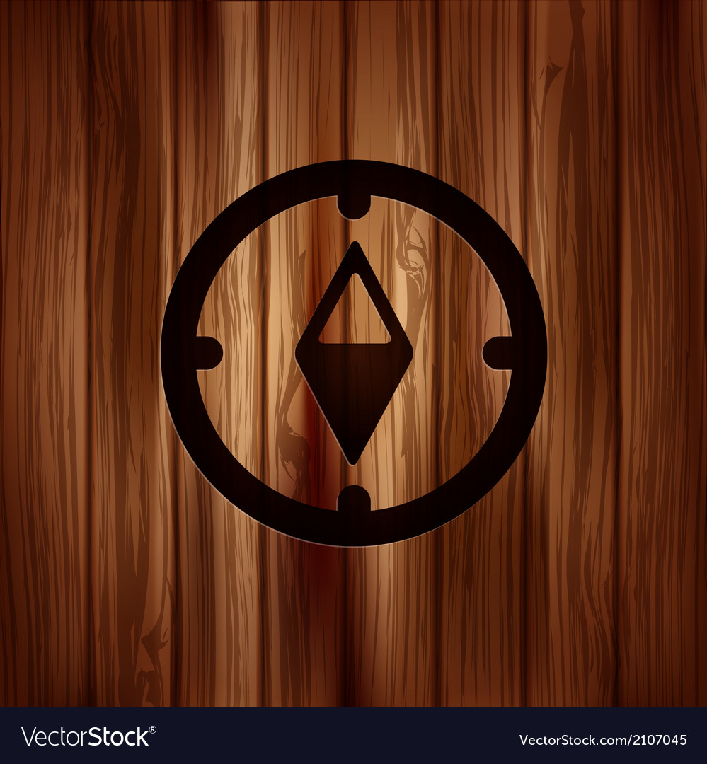 Compass web icon wooden background vector | Price: 1 Credit (USD $1)