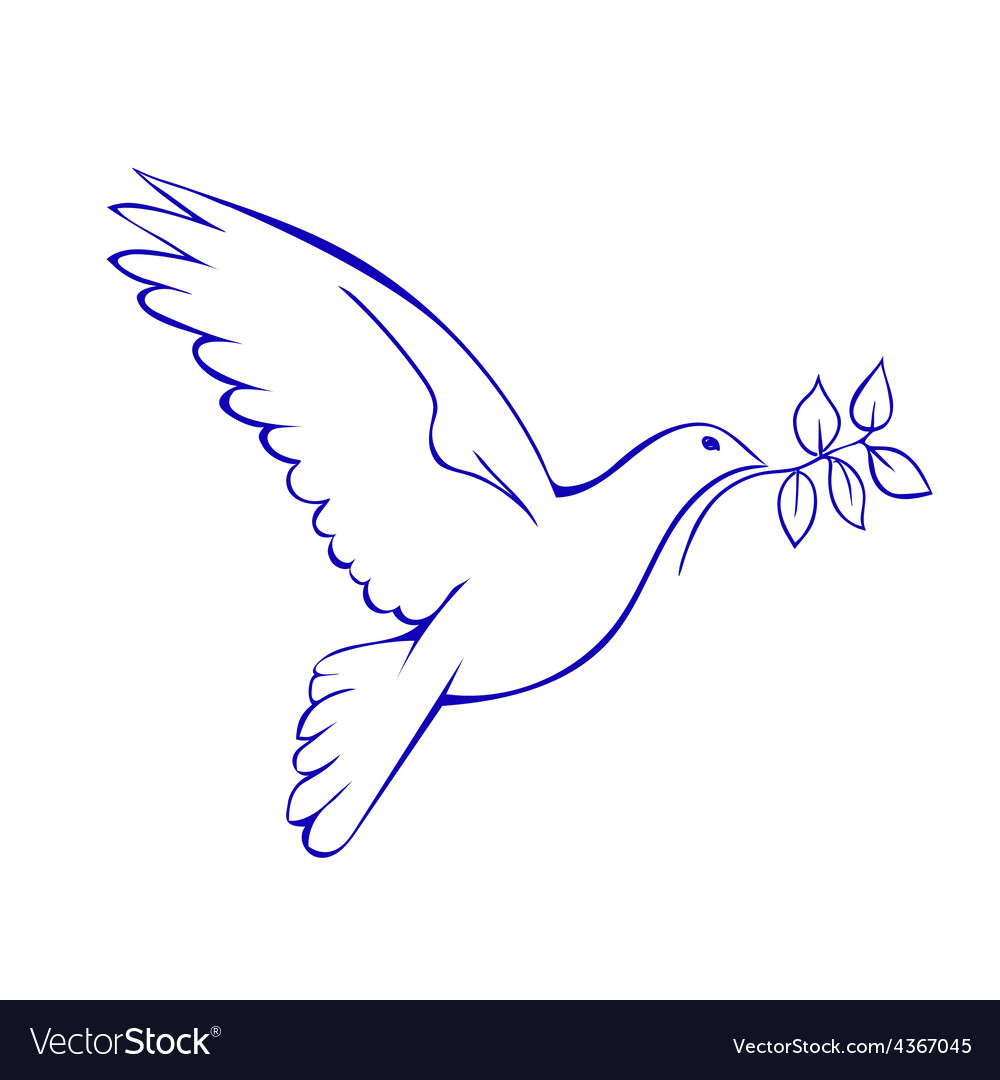 Dove with branch symbol of peace vector | Price: 1 Credit (USD $1)