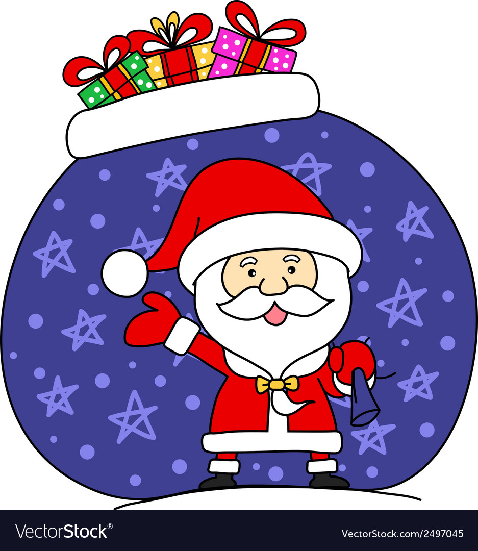 Funny santa claus with bag full of gifts vector | Price: 1 Credit (USD $1)