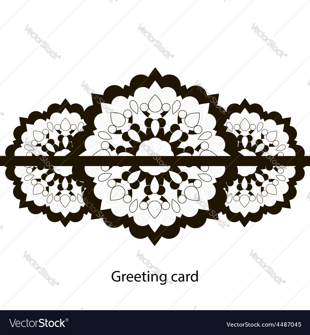 Greeting card black and white vector | Price: 1 Credit (USD $1)
