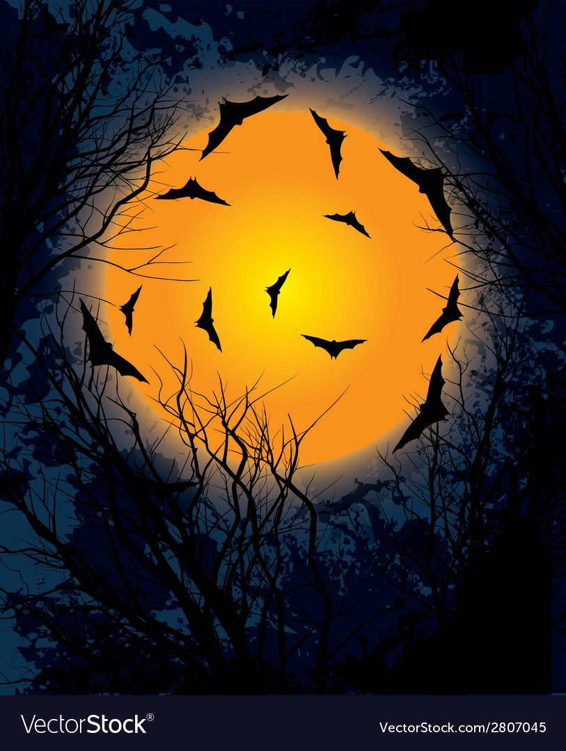 Halloween moon night background vector | Price: 1 Credit (USD $1)