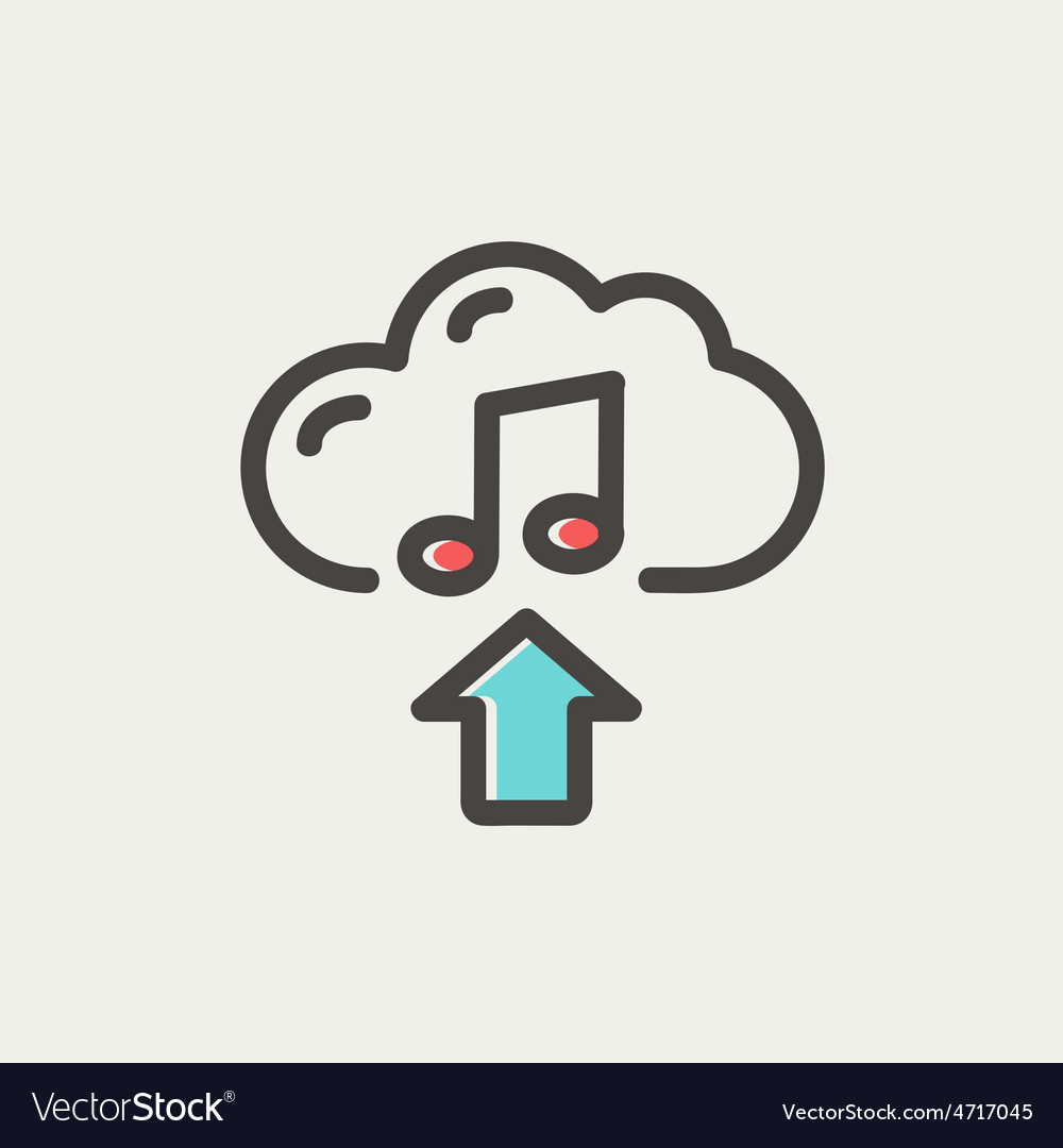 Music uploading thin line icon vector | Price: 1 Credit (USD $1)